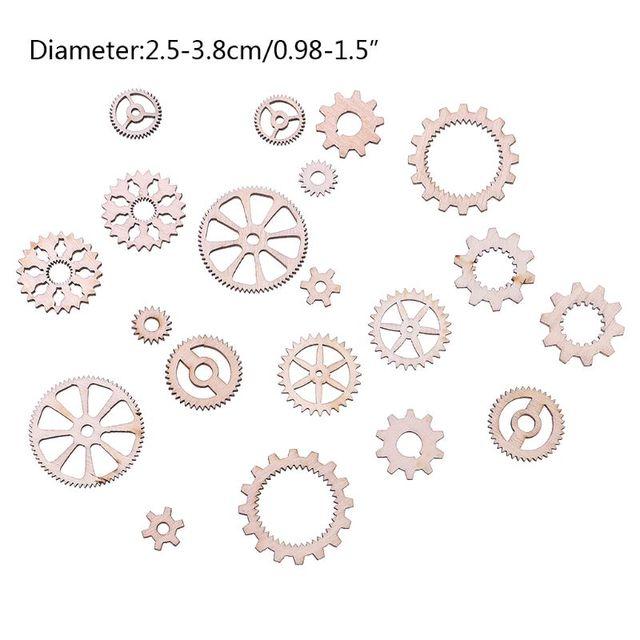 20pcs Laser Cut Wood Gear Embellishment Wooden Shape Craft Wedding Decor