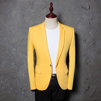 2018 Mens Classic Plus Size 5XL Yellow Suit Jacket Fashion Casual Blazer Designs Costume Homme Stage Clothes For Singers