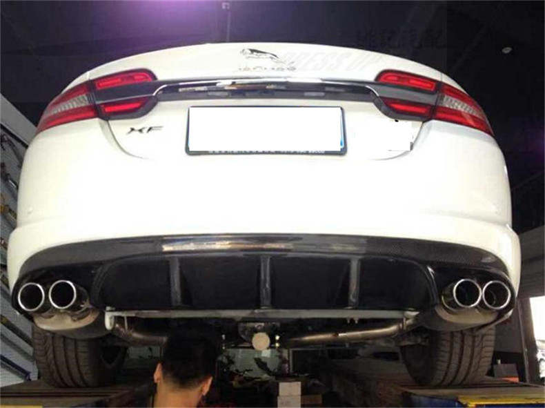 For Jaguar XF 2012.2013.2014.2015 Carbon Fiber Rear Lip Spoiler High Quality Car Bumper Diffuser Auto Accessories 2*2=4 Exhaust