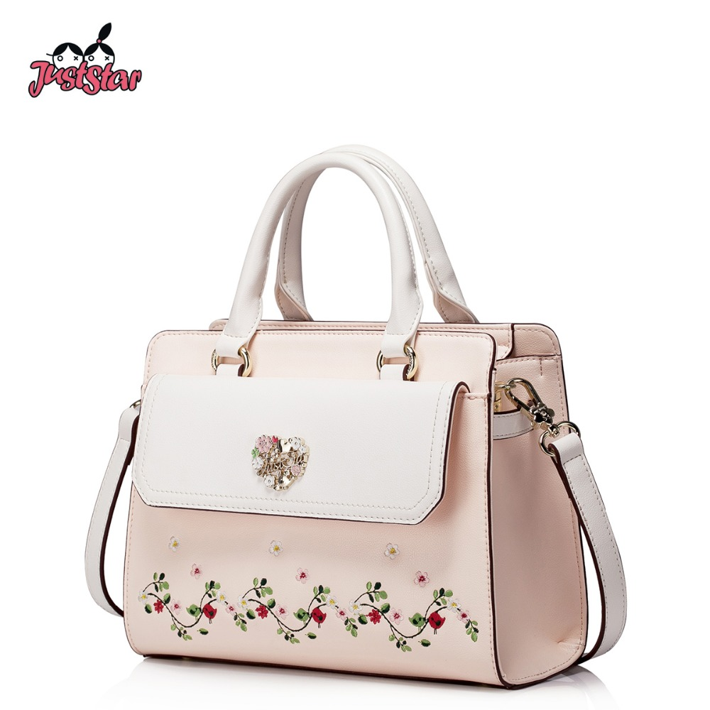 JUST STAR Women's PU Leather Handbag Ladies Fashion Embroidery Flower Tote Shoul