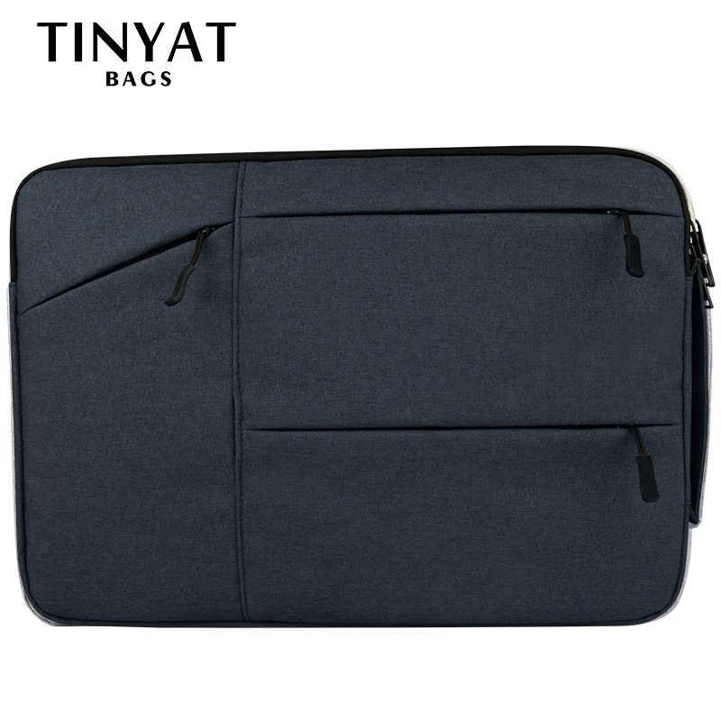 TINYAT العلامة التجارية البوليستر حقيبة رجالية للماء لينة مقبض 15 بوصة محمول حالة حقيبة جديد دفتر حقيبة حقيبة يد المرأة أسود t