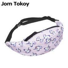 Jom Tokoy 2017 Summer style fashion adjustable length unicorn 3D Printed casual Fanny packs Money Waist Bag Belt leg bag men