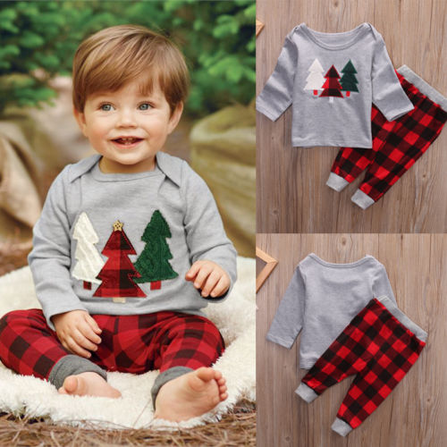 2pcs Toddler Baby Boy Girl Christmas Warm Clothes Set Cotton Hoodie And Pants Outfit
