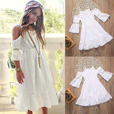 3fad7ed30fa3 Detail Feedback Questions about Cute Girl Kids Princess Vintage Lace Off  Shoulder Dress White Short Sleeve Strap Wedding Party Pageant Dresses Beach  Clothes ...