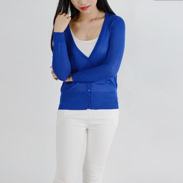2015 otoño caliente venta de mujeres suéter Cardigan tejido de punto Color sólido de la rebeca ocasional Feminino manga completa camisas de aire acondicionado