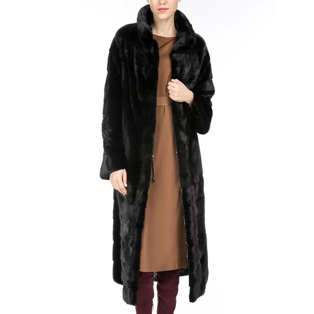 Vison Femelle De Long Montant Véritable Chaud Femmes Fourrure Épais Manteau Naturel En Col Cuir Outwear Hiver Avec Réel EqxHRnH