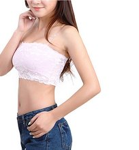 Bandeau Women Bras Summer Style Floral Everyday Worsted Women Lace Casual Crop Boob Tube Top Bandeau Bra Strapless Seamless Nude(China)