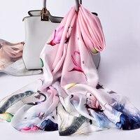 Ladies Real Hangzhou Silk Scarf 2019 New Luxury Print Shawls and Wraps for Women Scarf Silk 100% Pure Silk Scarves Foulard Femme