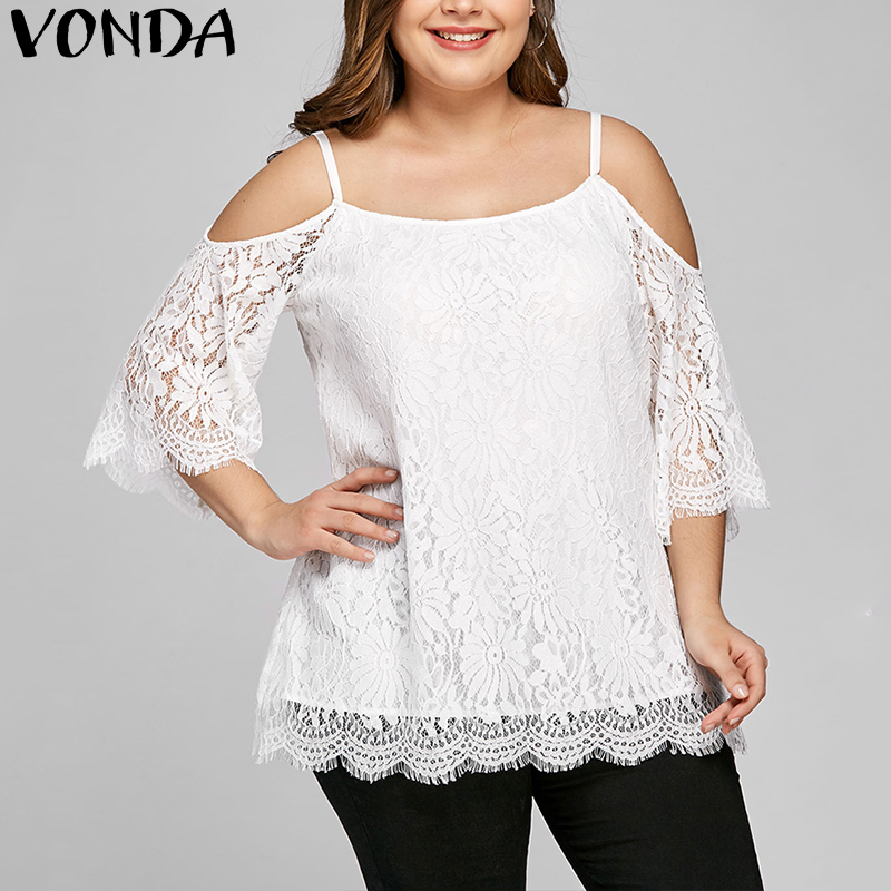 Blusas Shirt 2018 Summer Women Blouse Sexy Lace Shirts Casual Loose Off Shoulder Solid White Tee Tops Plus Size Oversized 5XL