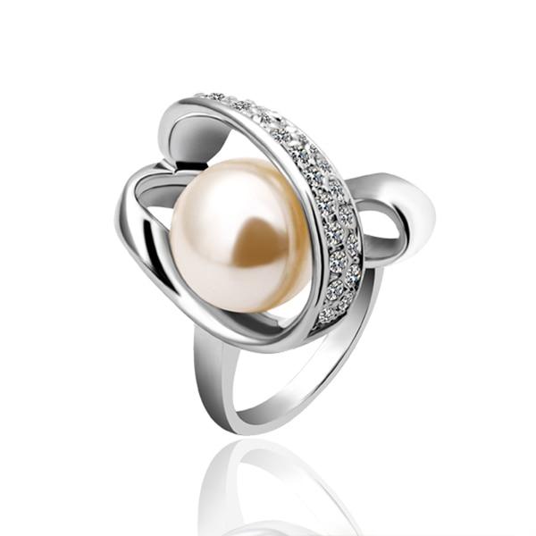 Designer Gold Color Brand Wedding Ring Set Pearls Wedding Band
