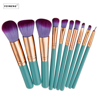 10Pcs Bag Wood Handle Makeup Brushes Set Tools Make Up Toiletry Kit Wool Hair Make Up