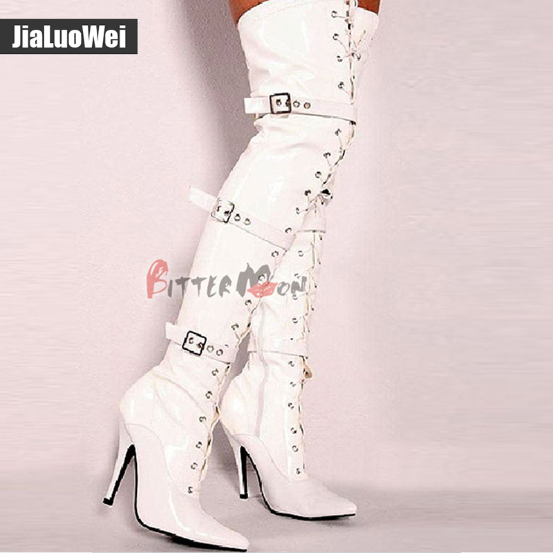 jialuowei Fashion 12cm high heel pointed toe Patent Leather Lace Up Buckle Straps Sexy Fetish over the knee Unisex Boots in Over the Knee Boots from Shoes