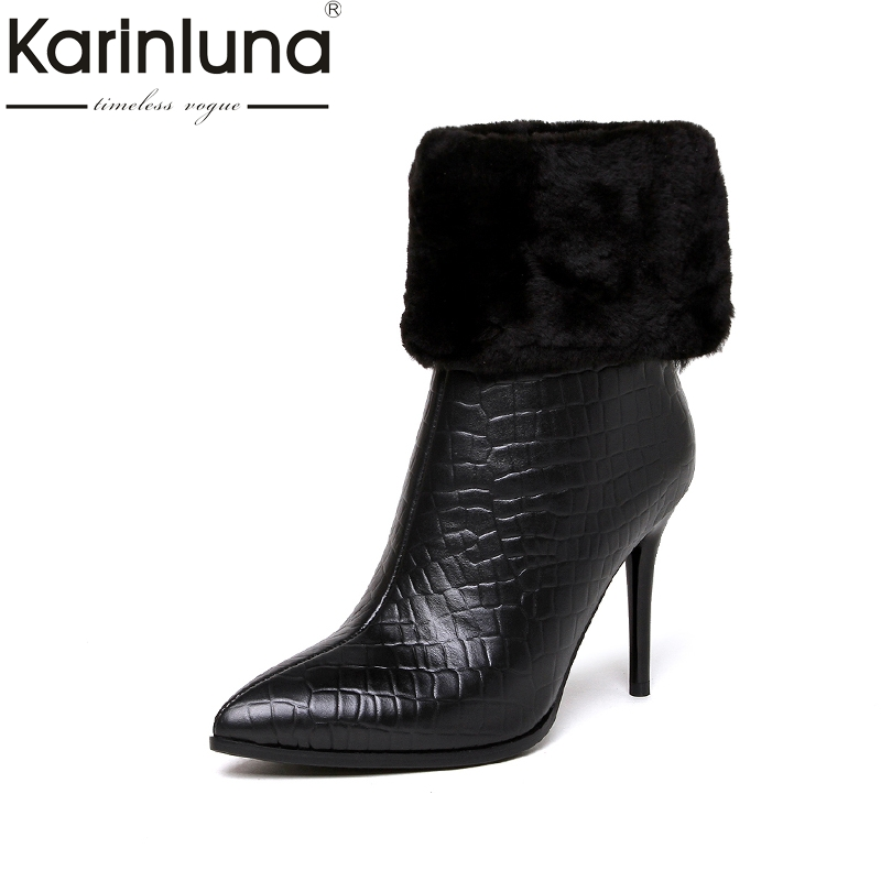 KARINLUNA 2017 Large Size 33-43 Wool Genuine Leather Pointed Toe Winter Shoes Woman Sexy Thin High Heels Party Boots Black karinluna 2017 plus size 33 43 customized black women shoes sexy thin high heel party wedding shoe winter long boots
