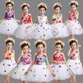 Meninas Branco Rosa Partido Weeding Vestido Tutu Crianças Ballroom dancewear Trajes de Desempenho vestido de Ballet infantil vestido da dança