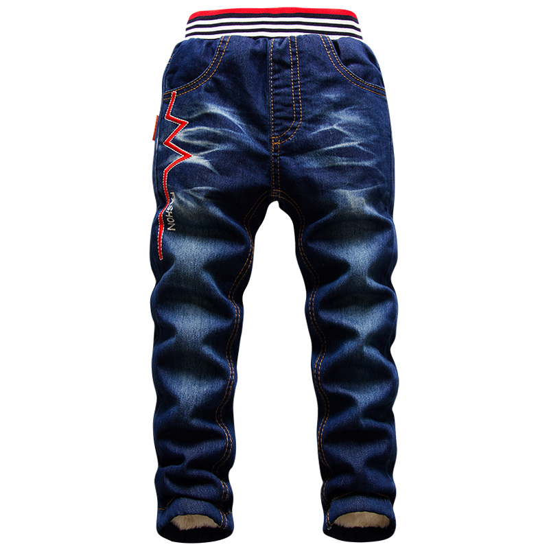 Image 4 - 2 15Y children Winter Pants Warm Add Wool Denim Trousers for Teenage Boys Casual Mid Elastic Waist Water Jeans Soft Cotton PantsJeans   -