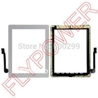 Voor ipad 3 touch screen digitizer glas panel + Lijm Lijm Tape Met Home Knop montage door gratis verzending; wit