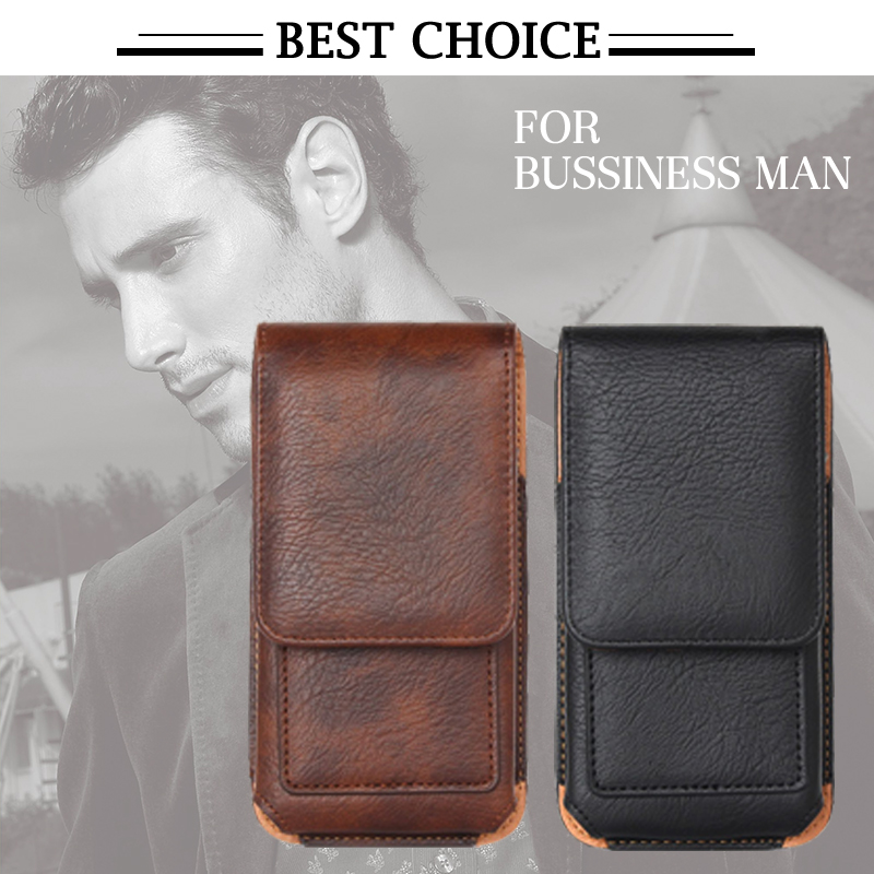 Business Style Mobile Phone Leather Bag Outdoor 360 Rotating Hook Loop Belt Pouch Case for iPhone 6 6s Below 4.7inch Phone XCT28