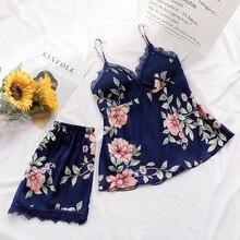 Women Summer Pyjama Fashion Flower Pajamas Women Sleep Lounge