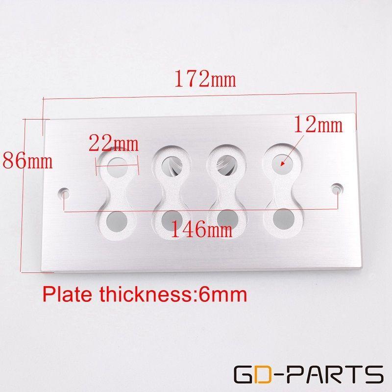 172x86mm CNC Machined Solid Aluminum 8holes Wall Plate Dish Board For Speaker Binding Post Amplifier RCA Jack Socket HIFI DIY x1