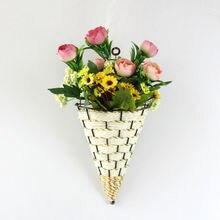 Натуральная плетеная корзина для цветов ваза из ротанга настенный горшок плантатор ротанга ваза-корзина Декор