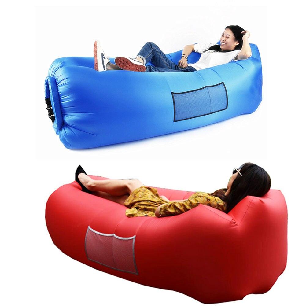 En plein air Paresseux Sac de Couchage Sac Rapide Gonflable Canapé Camping Air Canapé Plage de Couchage Lit Salon de La Banane Sac Air Lit Transat