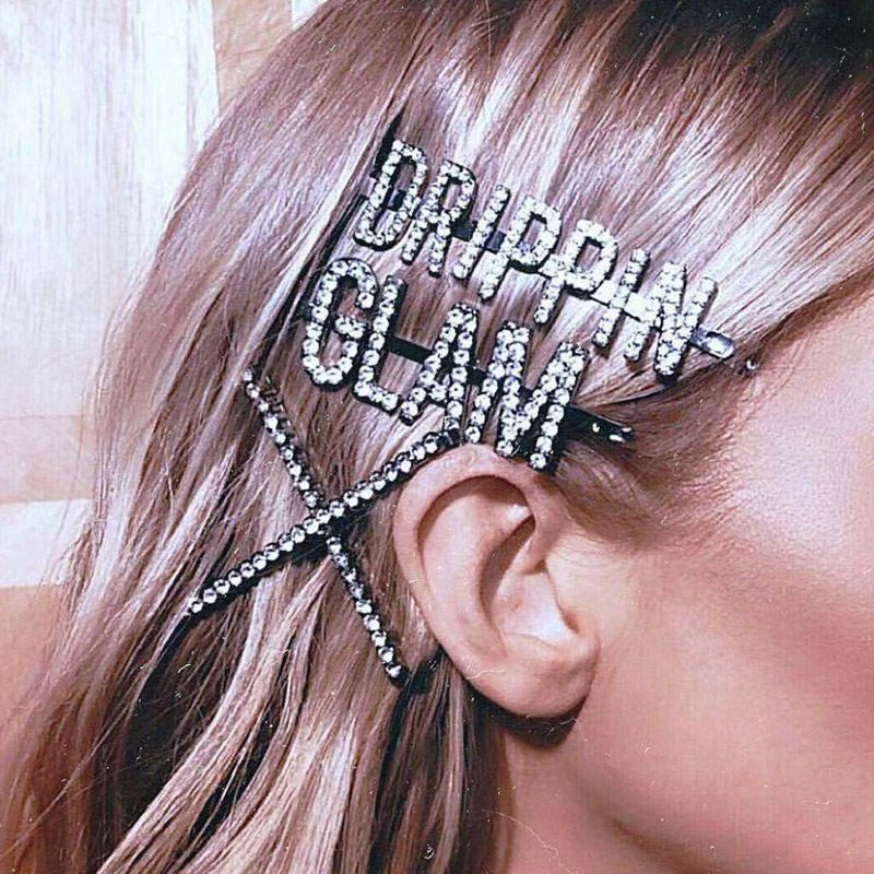 Crystal Hairpin Hair-Accessories Letters Rhinestones GLAM Girls Women New-Fashion