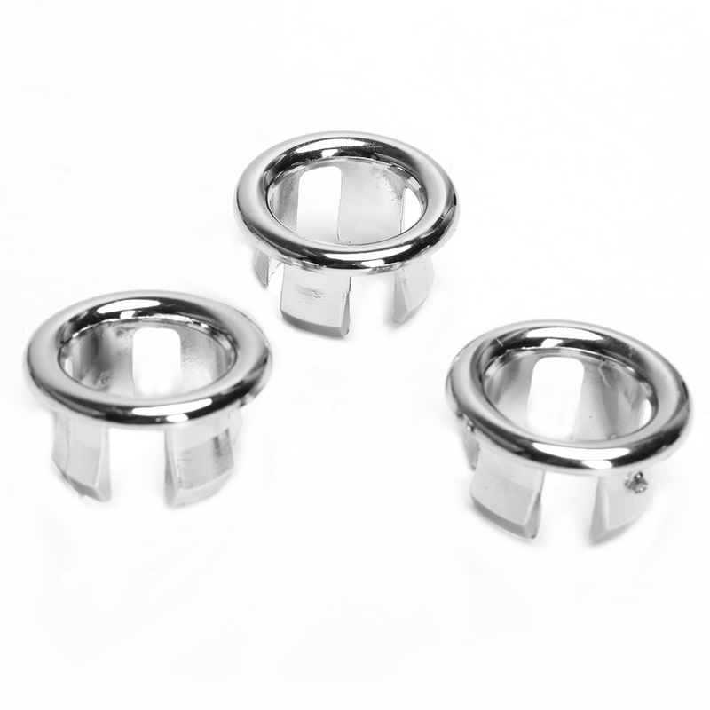 3pcs Plastic Silver Ceramic Basin Sink Round Overflow Cover Ring Basin Tidy  Insert Spares Kitchen Bathroom Accessories