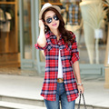2015 Autumn new long-sleeved plaid shirt and long sections women's casual shirt shirt jacket 9 colors fashion student
