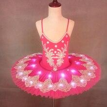 Luminous Led Ballet Dance Dress Children Pancake Tutu Swan Lake Performance Jumpsuit Fluorescent Pompon Full-Skirt H630