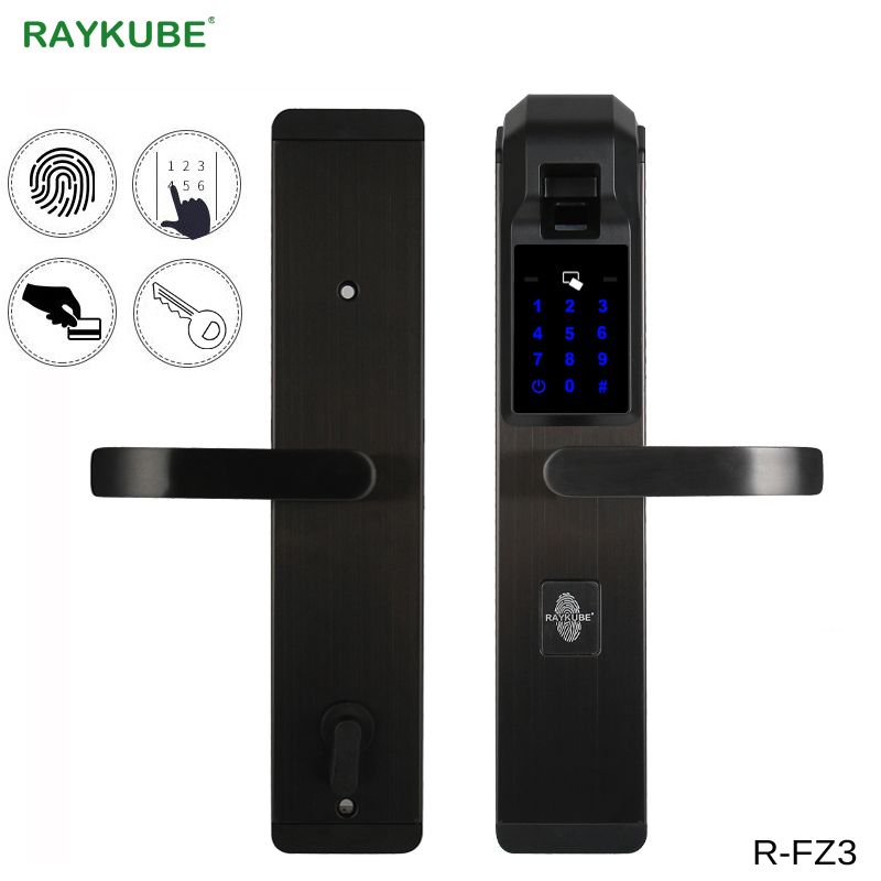RAYKUBE Electronic Fingerprint Door Lock Home Anti theft Lock Fingerprint Verification Intelligent Lock With Password RFID