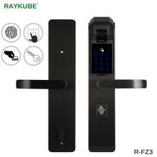 RAYKUBE אלקטרוני טביעת אצבע מנעול דלת נגד גניבת מנעול אימות טביעת אצבע אינטליגנטי מנעול עם סיסמא RFID R FZ3