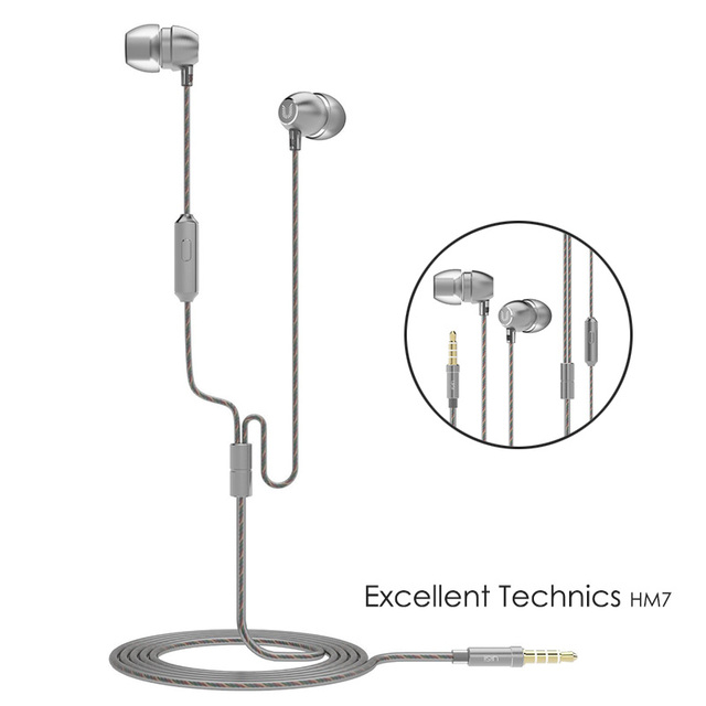 UiiSii HM7 In-ear Headphones Super Bass Stereo Earphone with Microphone Metal 3.5mm for iPhone /Samsung Mobile Phone Go pro MP3