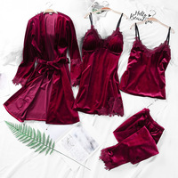 4 Pcs Warm Winter Pajamas Sets for Women Ladies Sexy Robe Pajamas Sleepwear Kit Sleeveless Lingerie Nightwear Exotic Apparel