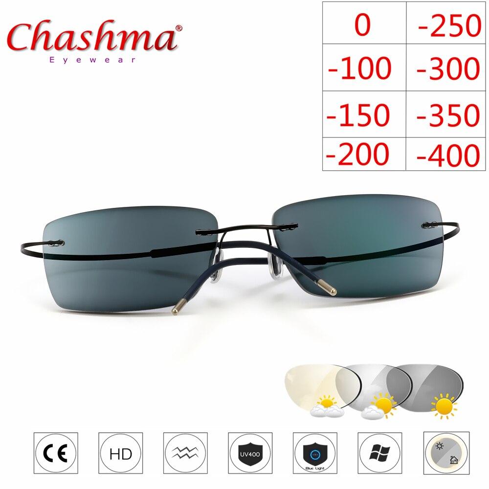 1f12dc280b Sin aros de titanio gafas miopía gafas fotocromáticos gafas hombres mujeres  camaleón gafas lente con dioptrías-1,0, 1,5, 2,0, 2,5, 3,0 -  a.isaacalpizar.me