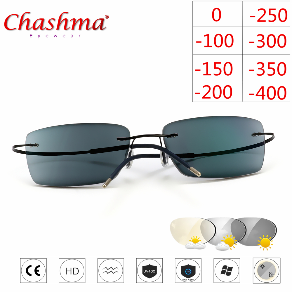 Titanium Rimless Glasses Myopia Glasses Photochromic glasses Men Women Chameleon Glasses Lens with Diopters  1.0 1.5 2.0 2.5 3.0-in Men's Eyewear Frames from Apparel Accessories