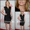 Ambervalletta Column V-neck Ruched Sleeveless Short Satin Side Slit Cap Sleeve Black Party Dresses