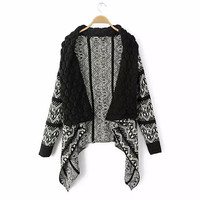 Autumn Spring Winter Women Fashion Cape Sweater Cardigan Wrapped Knitted Crochet Outwear Office Ladies Coat Jacket