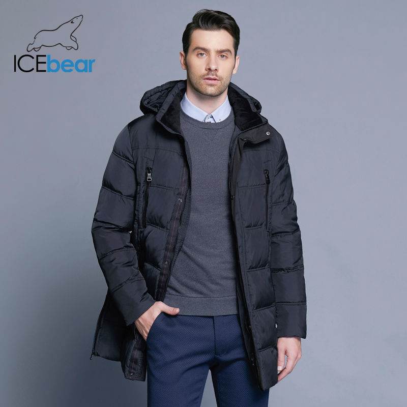 ICEbear 2018 Top Quality Warm Men's Warm Winter Jacket  Windproof  Casual Outerwear Thick Medium Long Coat Men Parka 16M899D 2