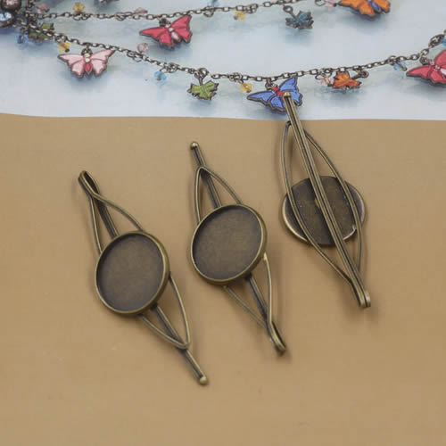 Fit 20mm Cabochons Copper Hairpins Blank Cabochon Settings Hair Snap Clips Accessories Length:65mm 10pcs/lot K05248