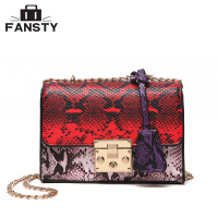 High Quality Snake Female Messenger Bag Fashion Luster Serpentine Women Cross Body Bag Popular Chains PU