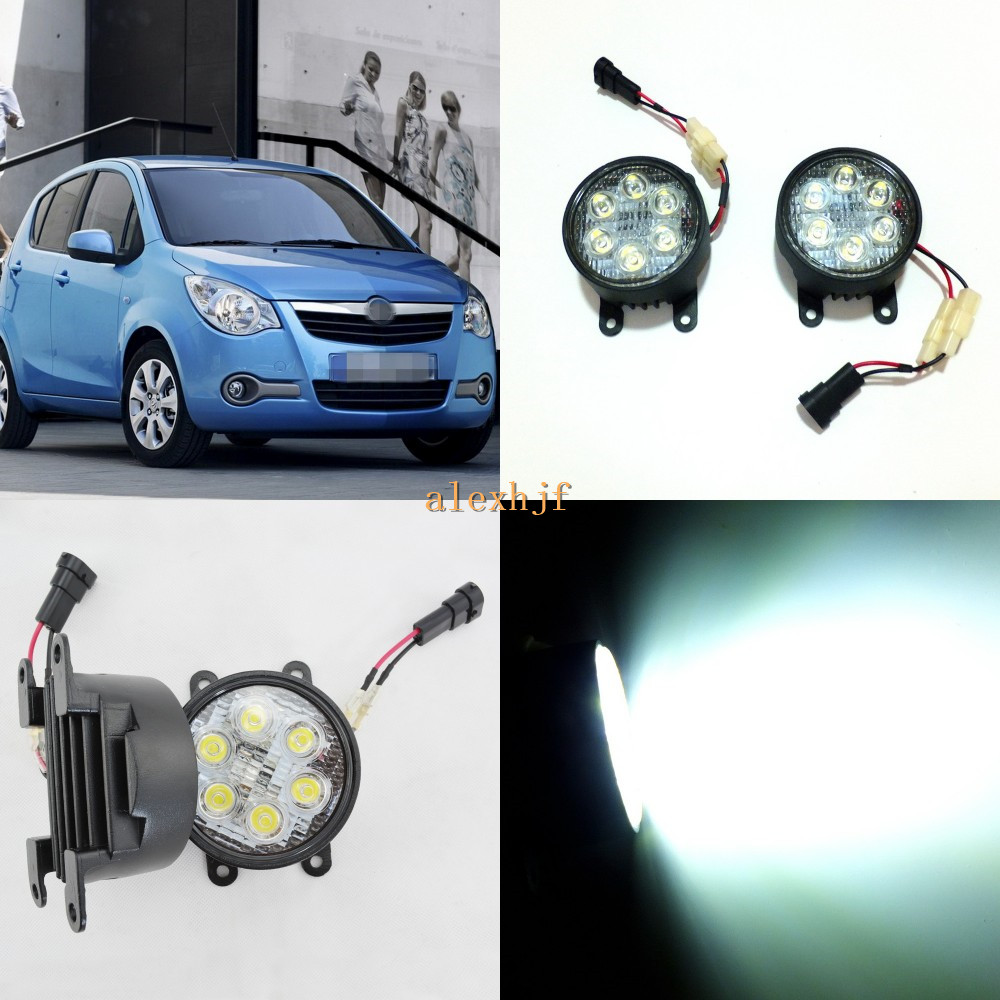July King 18W 6LEDs H11 LED Fog Lamp Assembly Case for Opel Agila 2008~ON, 6500K 1260LM LED Daytime Running Lights for opel astra h gtc 2005 15 h11 wiring harness sockets wire connector switch 2 fog lights drl front bumper 5d lens led lamp