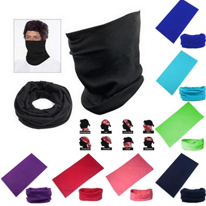 Black-224 Multifunctional Headwear Neckwarmer Snood Scarf Bandana Headband Tube