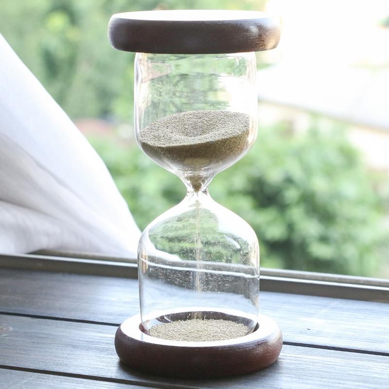 Horký prodej 1 minuta Romantický dárek Dřevěné přesýpací hodiny Zlaté ozdoby Přesýpací hodiny Řemesla Pískové hodiny s odpočítávání načasování