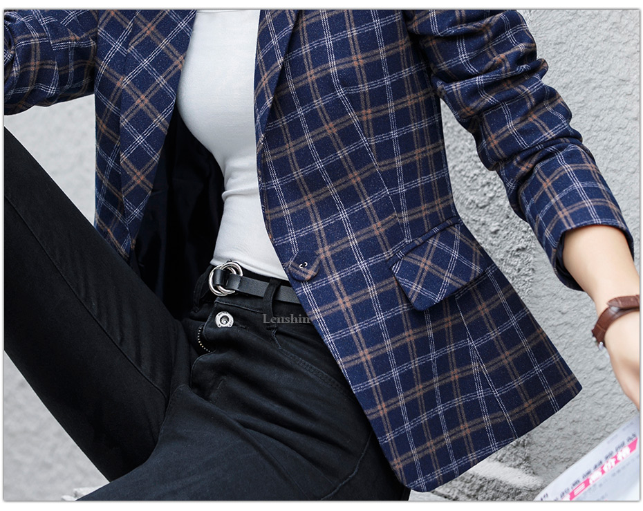 Lenshin Soft and Comfortable High-quality Plaid Jacket with Pocket Office Lady Casual Style Blazer Women Wear Single Button Coat 7