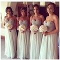 Cinza Lace Querida Elegante Vestido Da Dama de Meninas Até O Chão Vestido de Chiffon Preço Barato Tecidos Para Vestido de Festa/Casamento