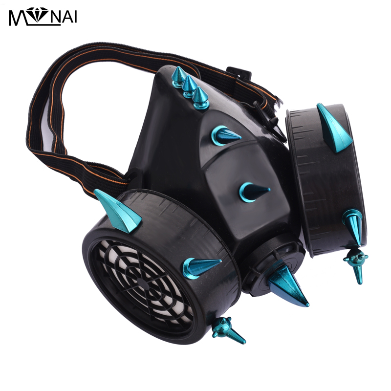 Punk Blue Rivets Mask Steampunk Industrial Spike Gas Masks Respirator Cosplay Party Accessories Gothic