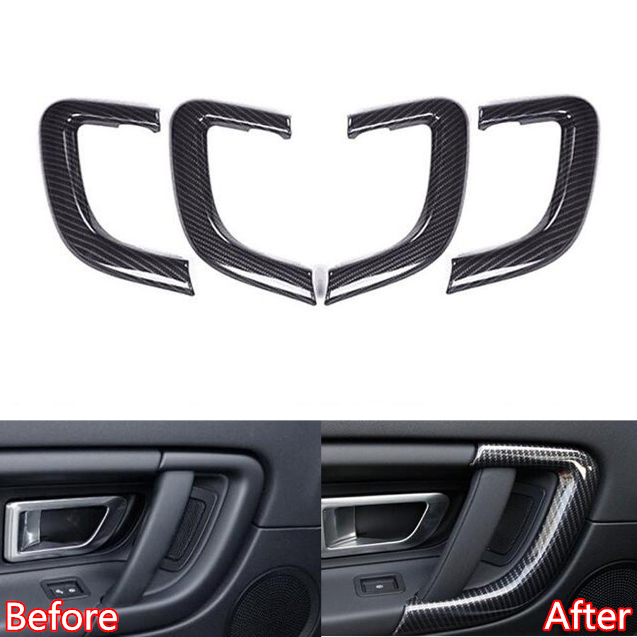 Fit For Land Rover Discovery Sport 2015-2017 Car Interior Door Handle Strip Trim Styling Sticker ABS Carbon Fiber Black 6pcs car inner door handle button bowl decorative cover trim styling sticker fit for cayenne 2011 2016 car decal accessary