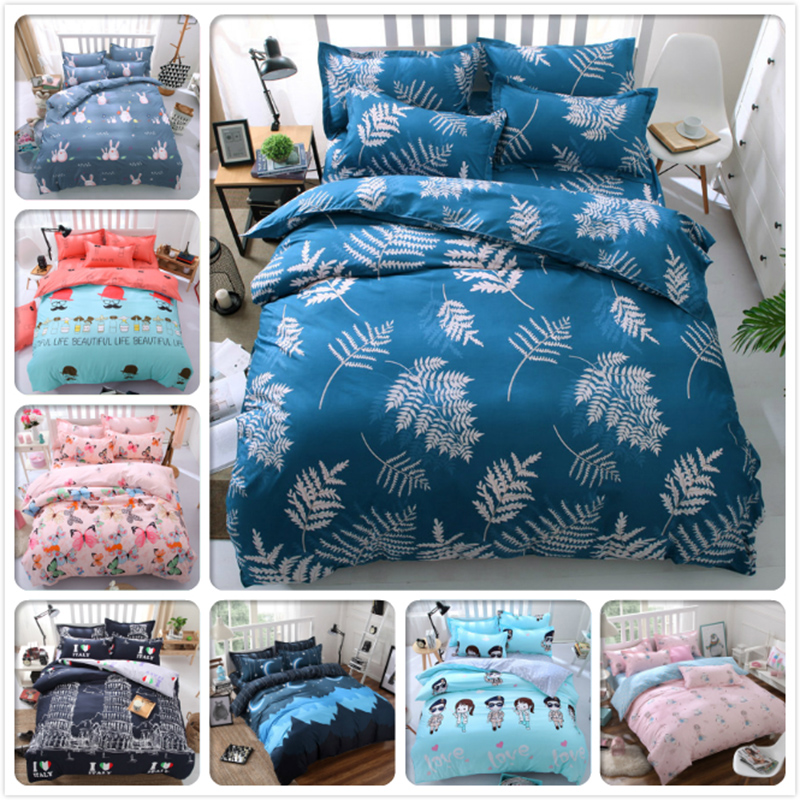 Comfort Soft Warm Bedding 4pcs Set Full King Queen Twin Double Size Bed Sheet 1.5m 1.8m 2m 2.2m Child Kids Duvet Cover Bedlinens