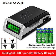 цена на PUJIMAX LCD-002 LCD Display With 4 Slots Smart Intelligent Battery Charger For AA/AAA NiCd NiMh Rechargeable Batteries