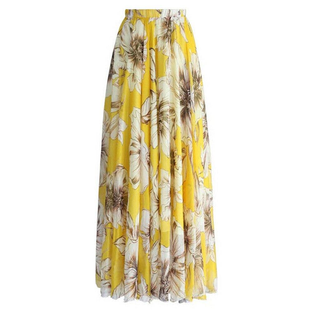 LAAMEI 2019 New Bohomian Women Flower Long Skirt Full Summer Beach Smock Skirts Floral Chiffon Ruched Tutu Skirt Summer Sundress